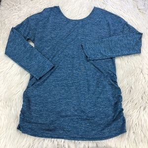 Lucy Blue Ruched Side Tunic Top